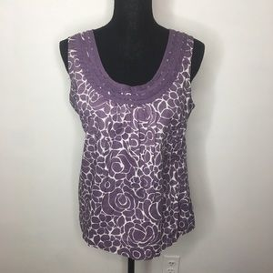 Boden White & Purple Floral Sleeveless Blouse